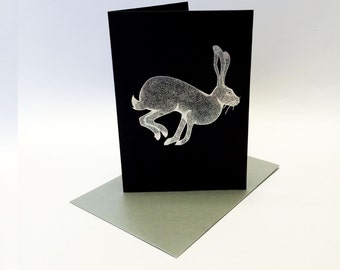 Illustrated Hare Greeting Card - A6, printed in metallic silver foil