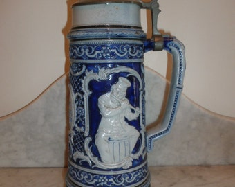 Large German Bavarian bleu grey pottery stein music players scenes - circa 1900