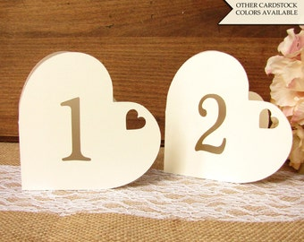 Heart table numbers - Table numbers wedding - Romantic table numbers - Wedding table numbers - Table numbers - Valentines day wedding