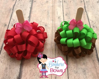 Candy Apple Pig Tail Bows, Candy Apple Bows, Caramel Apple Bows