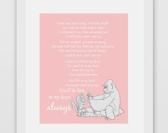 You'll Be In My Heart Tarzan Lyrics Print (PINK)
