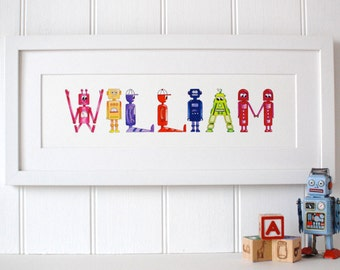 Personalised Robot Name Art prints - 8-10 letters
