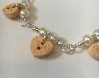 Handmade Silver Plated Button Charm Bracelet