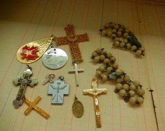12 Piece Vintage Religious Medal Lot Rosary Cross Charm Pendant Destash Junk Jewelry