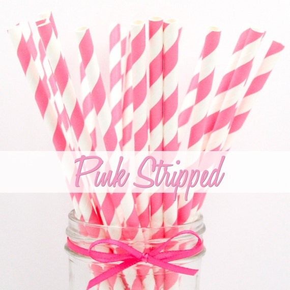 PINK STRIPPED - Pink Stripped Paper Straws - Party Paper Straws - Wedding - Birthday Decorations