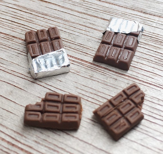 4 Miniature Chocolate Bar,Miniature Chocolate Pack,Miniature Chocolate,Miniature Food,DollHouse Food,Miniature Sweet,Miniature Cabochon,Doll