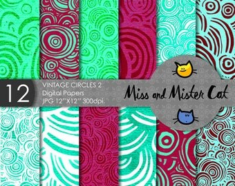 "Vintage Digital papers, Scrapbook papers, commercial use, background in Jpg. 1 Pack of 12 papers model ""Vintage Circles 2""."