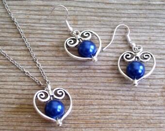 Filigree Silver Heart Jewelry, Bridal Jewelry Set, Dark Blue Pearl Beads, Bridal Jewelry, Silver Heart Pendant Necklace, Heart Earrings