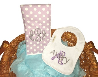 Monogrammed bib and burp cloth. Custom made for boy or girl.