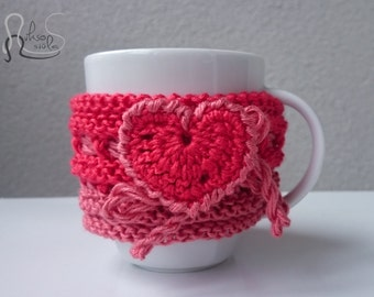 Two-Tone Pink Mug Cozy - Perfect as a Mother's Day Gift - Flower and Love Heart