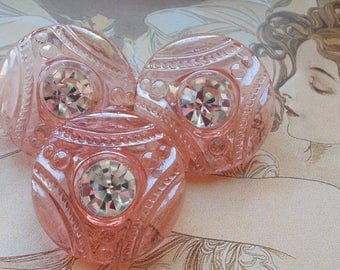 3 Vintage czech glass Rhinestone button | Iridescent luster | Pink depression glass | sparkly clear rhinestone | NOS