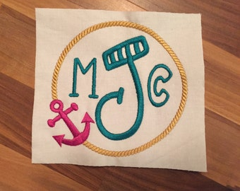 4x4, 5x7, Anchor Rope Monogram Frames Instant Download Embroidery File