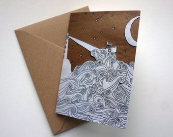 Boat and Lighthouse Greeting Card