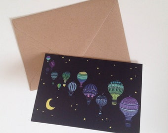 Hot Air Balloons, Bristol Night Sky A6 Greeting Card