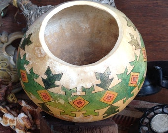 Paiute decorated gourd bowl // southwestern bowl // painted gourds