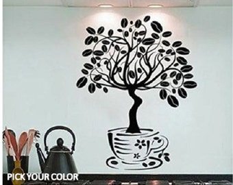 Coffee Bean Tree Wall Decal // Boyu0027s Room Decal // Kitchen Decal //