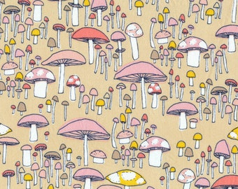 Mushroom March in Coral, Arcadia Collection by Sarah Watson for Cloud 9 Organic Fabrics 1131