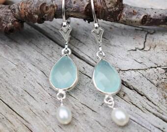 Aqua Blue Chalcedony, Freshwater Pearl Earrings, Sterling Silver, Ocean Earrings, Aqua Earrings, Delicate, Feminine, Earrings, Blue