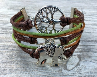 Charm Bracelet, Elephant Bracelet, Infinity Charm, Wish Tree, Vegan Bracelet with Tree of Life CH-54