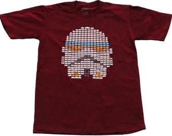 Storm Invader Maroon Red S, M, L, XL: Storm Trooper Space Invader Nerdy 80s Star Wars Video Arcade Games Sci Fi Games The Force Awakens