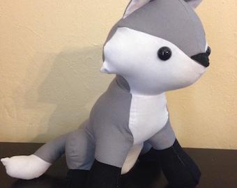 Made to order -Grey solid stuffed fox/nursery decor/woodland animal