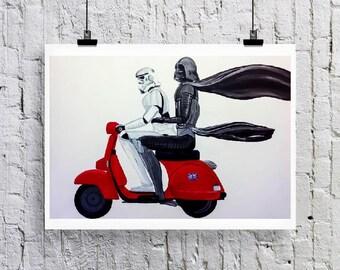 Instant Download  Darth-Vespa.  Darth Vader and Storm trooper on Vespa print