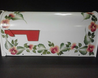 Hand Painted Pansy Post Mount Mailbox