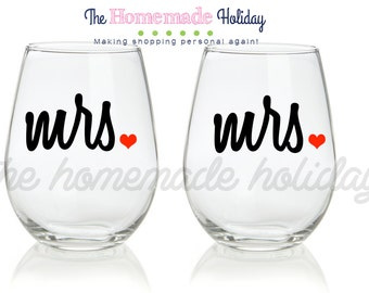 Mrs. & Mrs. wine glasses (listing includes TWO glasses) can do Mrs. and Mrs. or Mr. and Mr.