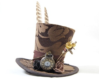 Steampunk mini Hat Brocade - Pocket Watch - Fascinators - headpiece