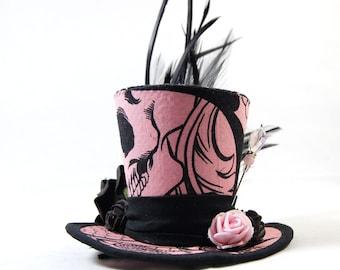 Gothic mini Hat - Black Pink Roses - headpiece - Fascinator