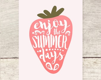 Summer Days Strawberry greeting card