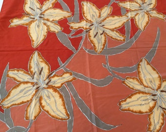 Vintage Vera Neumann Women's Scarf with Lily Design, FREE SHIPPING
