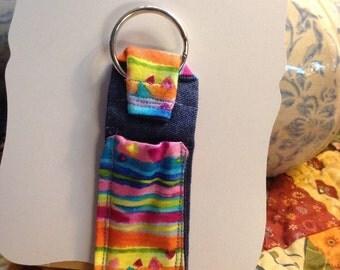 Fabric 'Chap-stick' Keeper Keychain