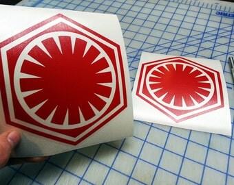 Star Wars First Order Decal.. First Order decal.. First Order Sticker..