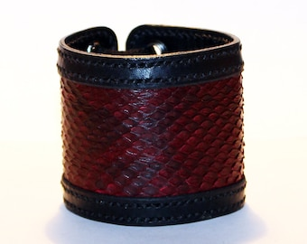 Black Leather Cuff Bracelet With Red Python Leather! Nice gift for women! Unique item! Best gift! Handmade leather cuff! Best quality!