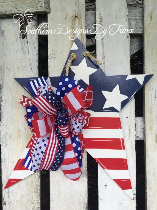 Patriotic Star Wooden Door Hanger Star Door Hanger 4th Of