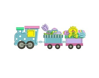 Easter Choo Choo Train Applique Machine Embroidery Digitized  Design Pattern - Instant Download - 4x4, 5x7, 6x10