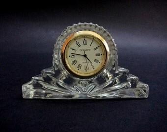 Vintage Glass Table Desk or Mantel Clock, OneWorld Quartz Glass Clock, Small Table Clock, Glass Desktop Clock