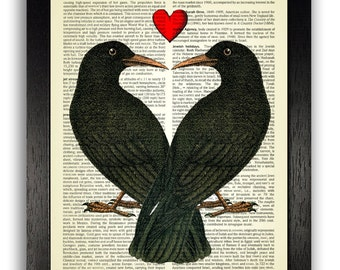WALL ART Crows in Love Print, Vintage Dictionary Illustration Artwork, Home Decor, Anniversary Gift, Wedding Present, Gifts for Boyfriend