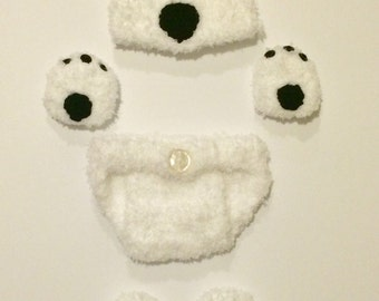 Newborn polar bear hat, mittens, booties, and diaper cover set