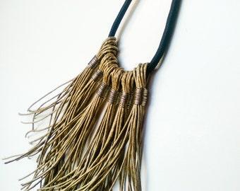 Boho Fringe Necklace, Black Rope Necklace, Boho chic Necklace, Statement Necklace, Necklace Tassel, Tribal Necklace, Bohemian Jewelry