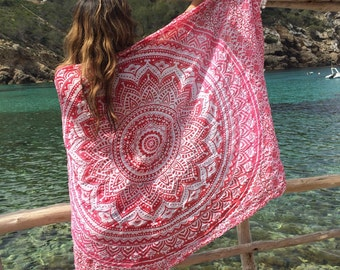 Beach pareo  or sarong for beach and home in strawberry red