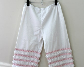 60s Vintage Cotton Bloomers | Vintage Sixties Lingerie Ruffled Bloomers | White and Pink Long Cotton Shorts |