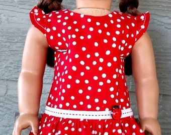 """Dress for American Girl Doll/AG Doll/18"""" Doll-Red with White Polka Dot Cotton Dress"""