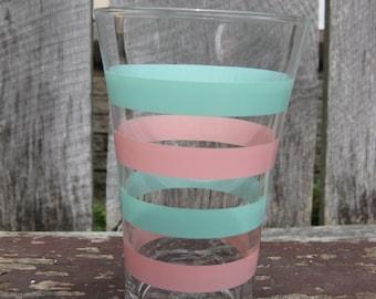 Vintage Glass Striped Vase