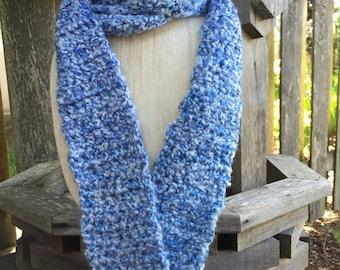 Crochet Light Blue Scarf, Long Scarf, Warm Scarf