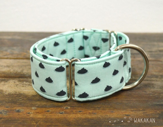 Martingale dog collar model Polka Poop. Adjustable and handmade with 100% cotton fabric. watermelon fabric, summer time Wakakan