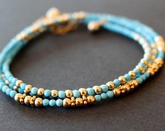 Sleeping Beauty turquoise bracelet, turquoise wrap bracelet, minimalist beaded  bracelet, womens' bracelet, stacking bracelet,