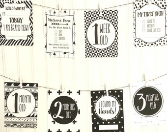 32 Baby milestone cards, Monochrome Milestone Cards, Black and White Milestone Cards, Baby's First Year, Baby Shower Gift, Baby Milestones