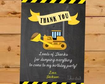 Construction Thank You Card, Construction Birthday Thank You, Construction Birthday Party, Chalkboard Thank You, Thank You Card Construction